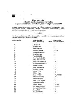 M`e n o van i esčítacích komisárov pre mesto Prešov na v/konanie