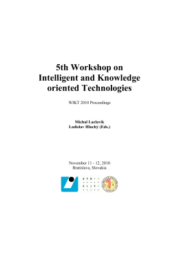 5th Workshop on Intelligent and Knowledge oriented Technologies
