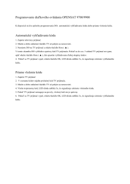 Programovanie DO OPENSAT 9700-9900