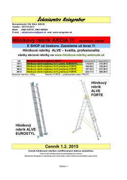 Železiarstvo Reingraber Hliníkový rebrík AKCIA !!! možnosť zaslať
