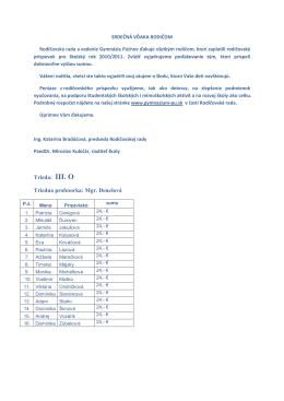 Rodičovský príspevok pre šk. rok 2010/2011