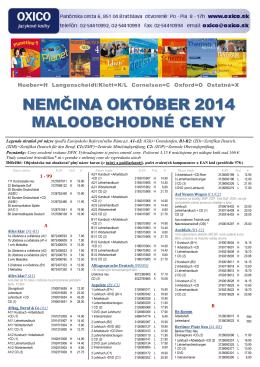 nemčina október 2014 maloobchodné ceny