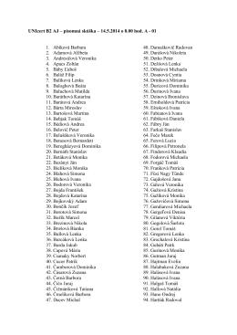UNIcert B2 AJ – písomná skúška – 14.5.2014 o 8.00 hod. A