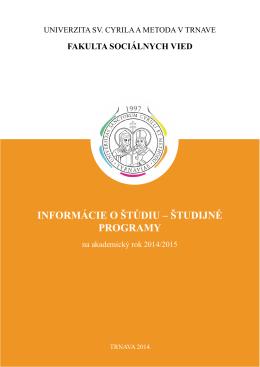 informácie o štúdiu - Fakulta sociálnych vied
