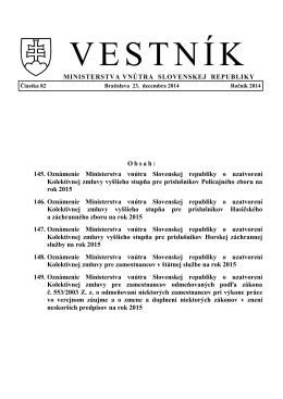 145. Oznámenie Ministerstva vnútra Slovenskej republiky o