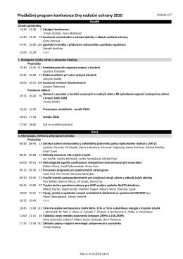 Předběžný program konference Dny radiační ochrany 2010