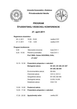 PROGRAM ŠTUDENTSKEJ VEDECKEJ KONFERENCIE 27. apríl