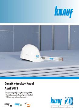 Cenník výrobkov Knauf Apríl 2013