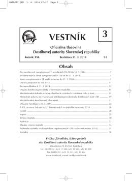 VESTNÍK - Závodisko Bratislava