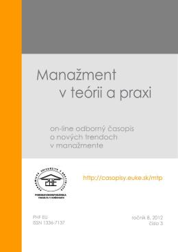 Číslo 3/2012 - Manažment v teórii a praxi