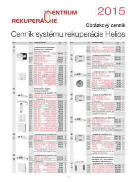 Cenník rekuperácie Helios 2015