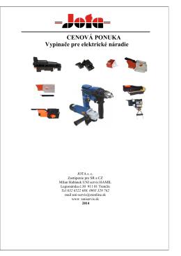 JOTA - PC 2014 -Vypínače pre el.náradie