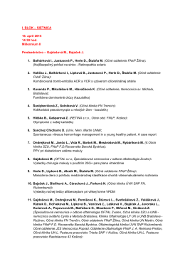 I. BLOK – SIETNICA 16. apríl 2015 14:30 hod. Millennium II
