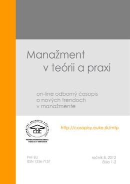 Číslo 1-2/2012 - Manažment v teórii a praxi