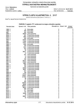 3117 VÝPIS Z LISTU VLASTNÍCTVA č. VÝPIS Z KATASTRA