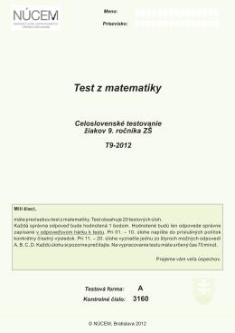 Test z matematiky