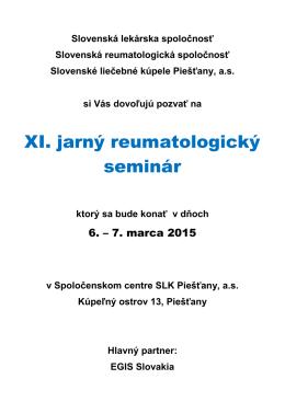 XI. jarný reumatologický seminár