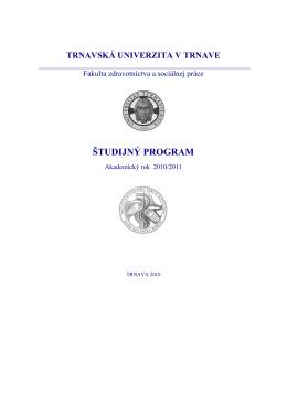 Nový študijný program na rok 2010 a 2011!!!!