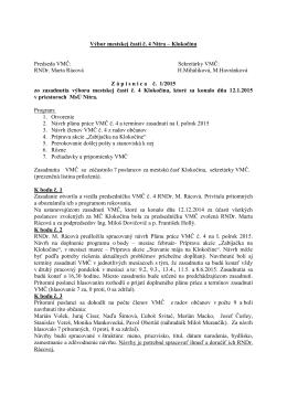 Zápisnica zo zasadnutia VMČ 4 zo dňa 12.1.2015