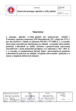 Smernica - Ústredná vojenská nemocnica SNP Ružomberok