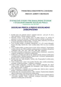 SOCIÁLNA PRÁCA A PRÁVO SOCIÁLNEHO ZABEZPEČENIA