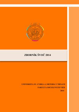 Zborník príspevkov 2014 - Fakulta sociálnych vied