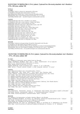 SLOVENSKÁ NUMIZMATIKA I, Prvé vydanie, Vydavateľstvo