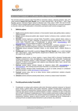 Obchodné podmienky používania služby ProductADS