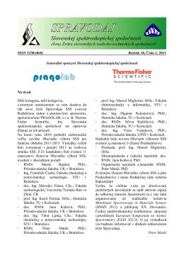 Spravodaj ročník 18 č. 1 - Slovenská spektroskopická spoločnosť