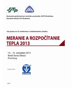 13. ročník odbornej konferencie Meranie a rozpočítanie tepla 2013