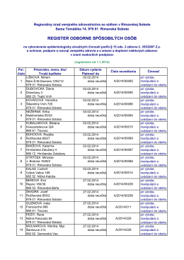 Zoznam osob rok 2014 - RUVZ so sídlom v Rimavskej Sobote