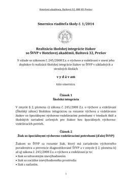 Interná smernica o školskej integrácii žiakov so ŠVVP