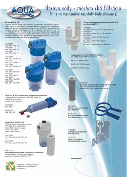 Úprava vody - mechanická filtrácia