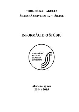 Brožúra Informácie o štúdiu - Strojnícka fakulta