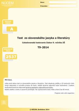T9-2014/Test zo slovenského jazyka a literatúry