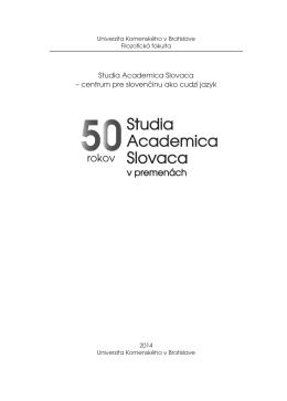 Textové PDF - Zborníky Studia Academica Slovaca - E