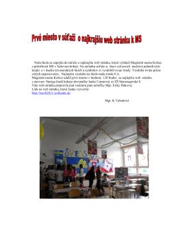 Naša škola sa zapojila do súťaže o najkrajšiu web stránku, ktorú