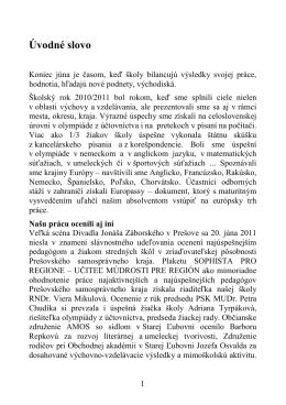 Ročenka 2010/2011 - Obchodná akadémia Stará Ľubovňa