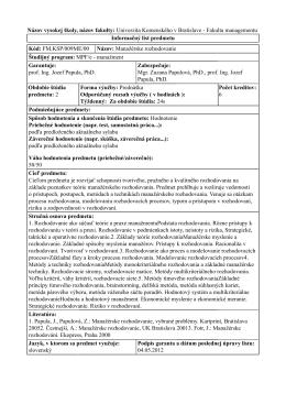 Názov vysokej školy, názov fakulty: Univerzita Komenského v
