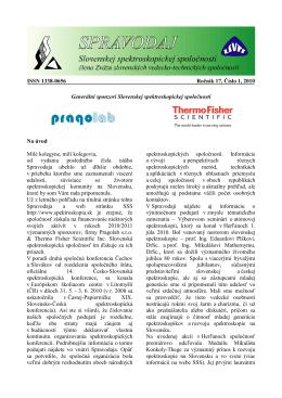 Spravodaj ročník 17 č. 1 - Slovenská spektroskopická spoločnosť
