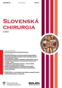Slovenská chirurgia - Slovenská Chirurgická Spoločnosť