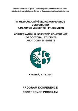 Podrobný program konference ke stažení