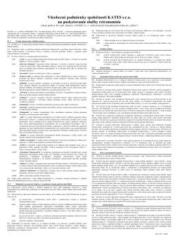 Všeobecné podmienky spoločnosti KATES s.r.o. na poskytovanie