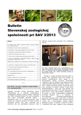 2013/3 - Slovenská zoologická spoločnosť pri SAV