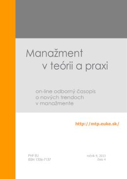 Manažment v teórii a praxi 4-2013