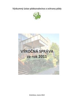 Výročná správa - Výskumný ústav pôdoznalectva a ochrany pôdy
