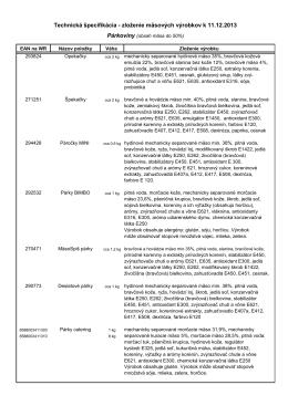 zloženie mäsových výrobkov k 11.12.2013