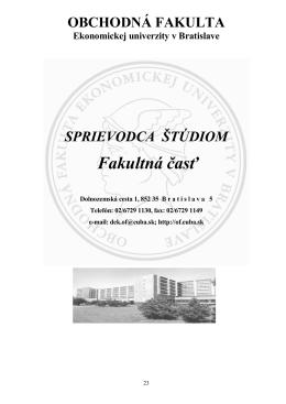 OBCHODNÁ FAKULTA - Ekonomická univerzita v Bratislave