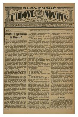 Slovenské ľudové noviny zo dňa 19.12.1913