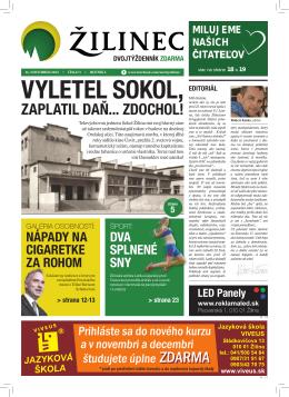 Vyletel sokol, - Noviny Žilinec